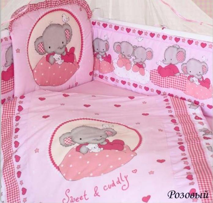 Комплект постельного белья Золотой Гусь Слоник Боня 1916 розовый