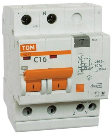 Дифференциальный автомат TDM АД12 2Р 50А 100мА