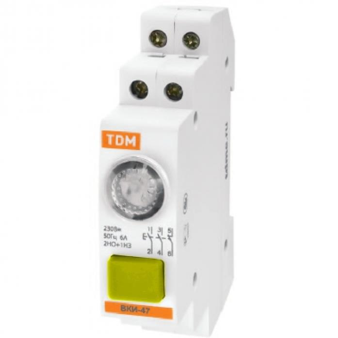 Выключатель кнопочный с индикацией TDM ВКИ-47 зеленый 2НО 1НЗ AC/DC