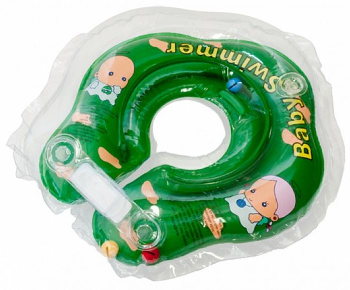 Круг BabySwimmer 3-12кг Зеленый полуцветный+внутри погремушка BS02G-B