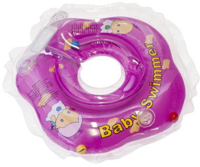 Круг BabySwimmer 3-12кг Фиолетовый полуцветный+внутри погремушка BS02F-B