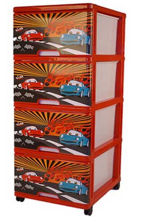Ящик для игрушек Dunya Plastic Тачки Красный 0403-2
