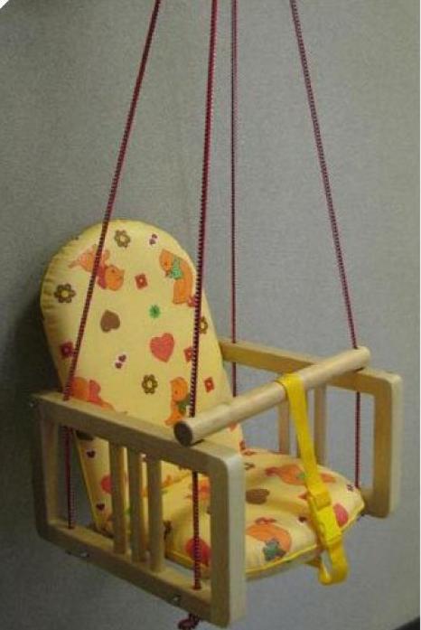 Качели Гном деревянные с мягким сиденьем