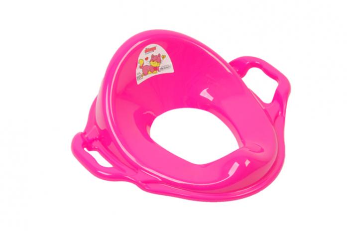 Накладка на унитаз Dunya Plastic с ручками розовая 11107