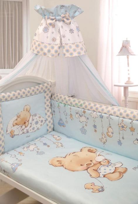 Комплект постельного белья Золотой Гусь Mika сатин голубой 7 предметов 1112