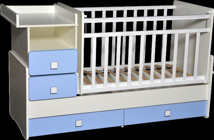 Кровать-трансформер Антел Ульяна-4 белый/голубой