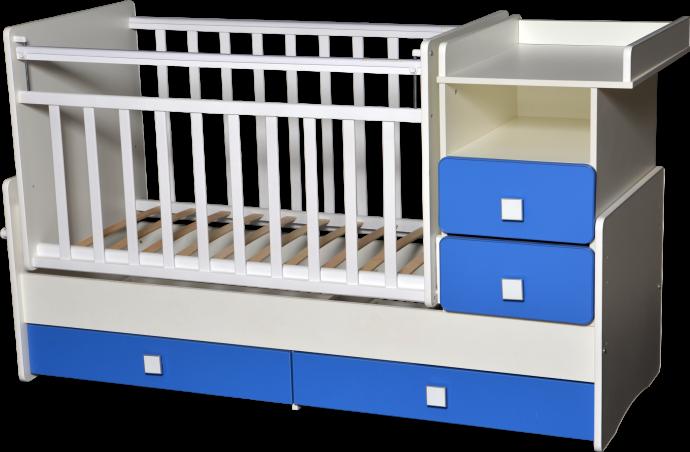 Кровать-трансформер Антел Ульяна-4 белый/синий бриллиантовый