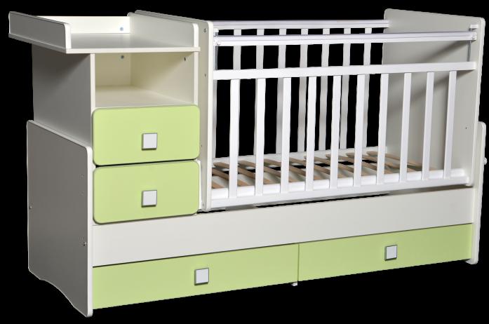 Кровать-трансформер Антел Ульяна-4 белый/зеленый бархат