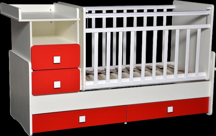 Кровать-трансформер Антел Ульяна-4 белый/красный китайский