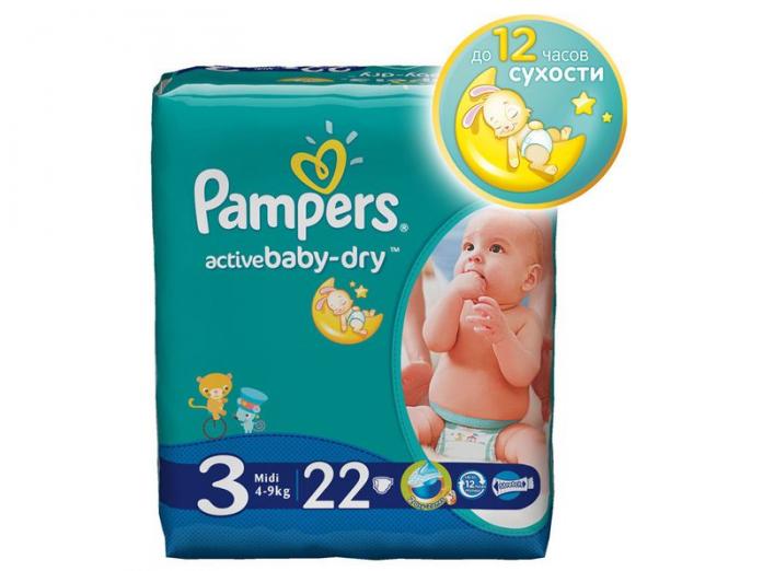 Подгузники Pampers Active Baby-Dry 4-9кг 22шт Midi 3