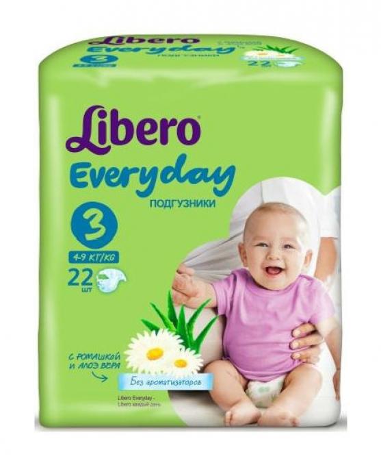 Подгузники Libero Every Day 4-9кг 22шт Midi 3