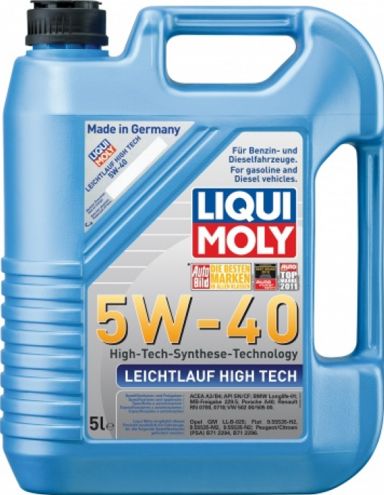 Масло моторное LIQUI MOLY Leichtlauf High Tech 5w40 (5л) Синтетика 3864/8029