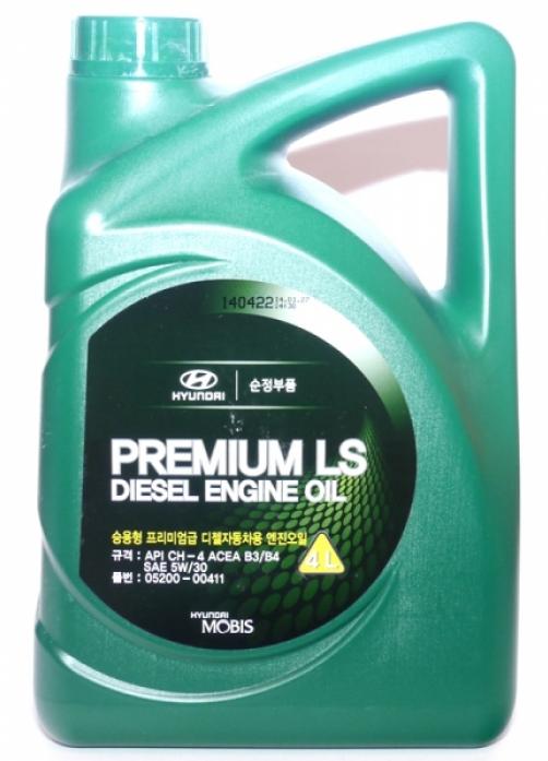 Масло моторное Hyundai MOBIS Premium LS Diesel 5w30 B3/B4, CH-4 (4л)(Корея) ПолуСинтетика (05200-00411)