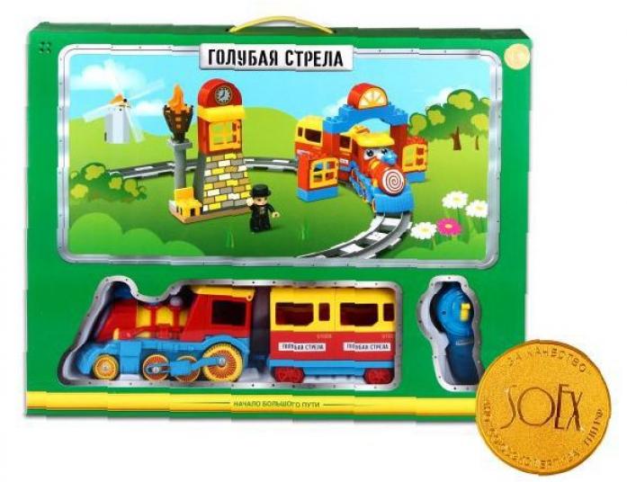 Железная дорога Голубая стрела Конструктор Веселый паровозик 87183