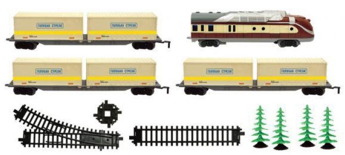 Железная дорога Голубая стрела тепловоз, 3 контейнерные платформы 2022C