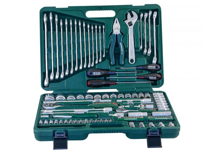 """Универсальный набор торцевых головок 1/4""""DR 4-10 мм и 1/2""""DR 8-32 мм, комбинированных ключей 8-24 мм и отверток Jonnesway S04H624101S"""