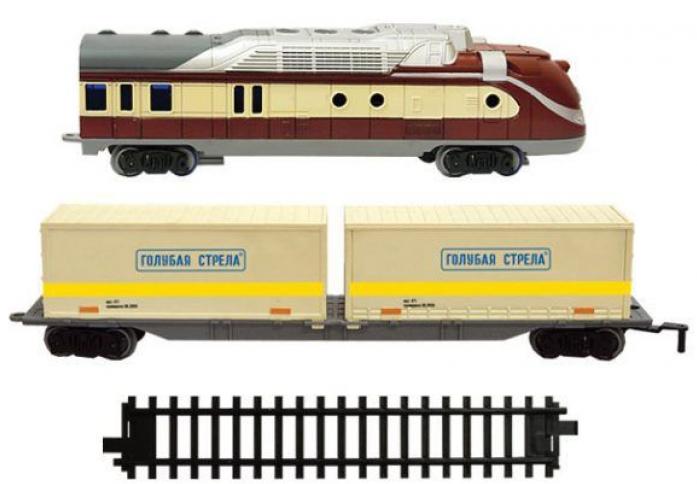 Железная дорога Голубая стрела тепловоз,контейнерная платформа 2020С