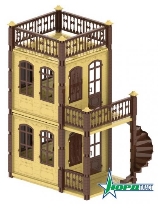 Домик для кукол Нордпласт Замок Принцессы 2 этажа бежевый 591/1