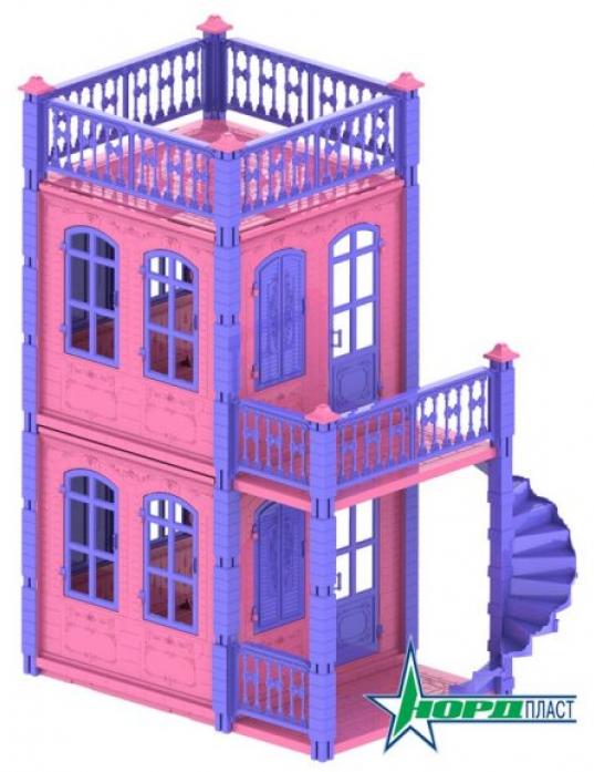 Домик для кукол Нордпласт Замок Принцессы 2 этажа розовый 591/2