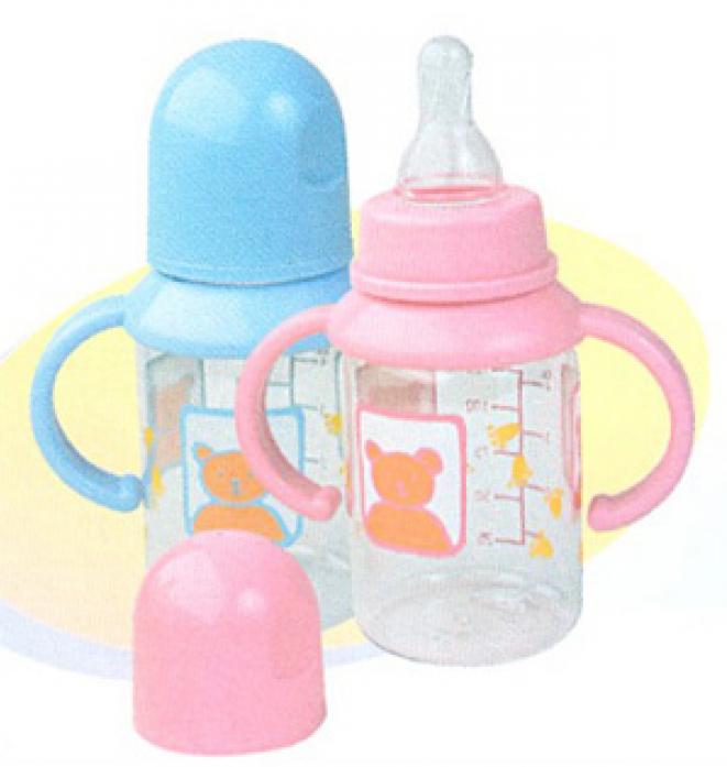 Бутылочка Мир Детства пластиковая 125 мл с силиконовой соской с ручками 11000