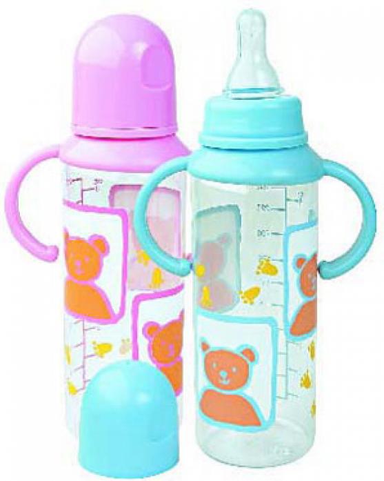 Бутылочка Мир Детства пластиковая 250 мл с силиконовой соской с ручками 11005