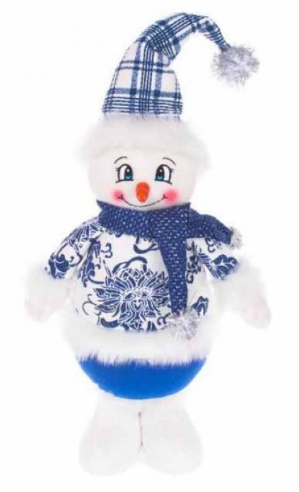 Новогодняя сказка Снеговик 35см синий 972012