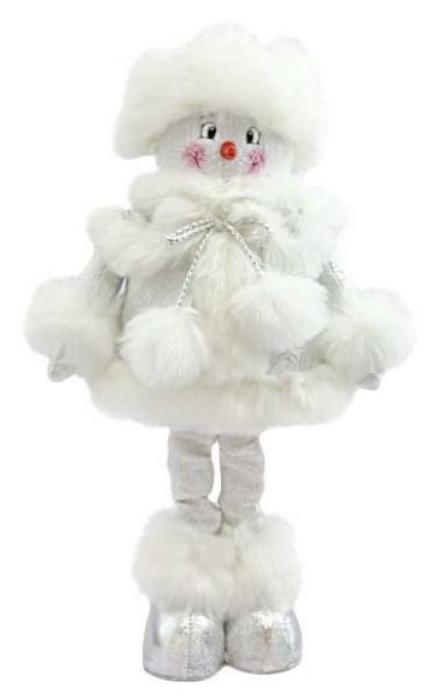 Новогодняя сказка Снеговик 50см серебро 972006
