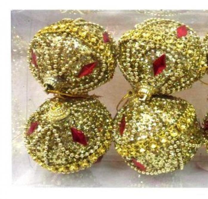 Набор шаров Новогодняя сказка 7см 4шт золото 972173