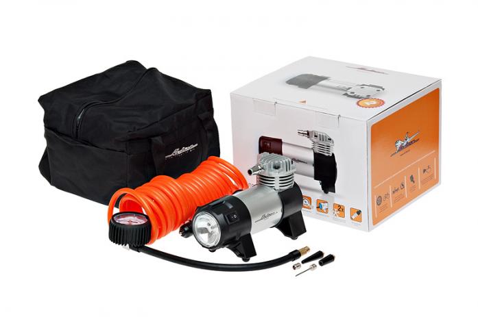 Автомобильный компрессор Airline CLASSIC-2 CA-030-02 с фонарем 7Атм 30л/мин 14А шланг 5м кабель 3м 12В сумка