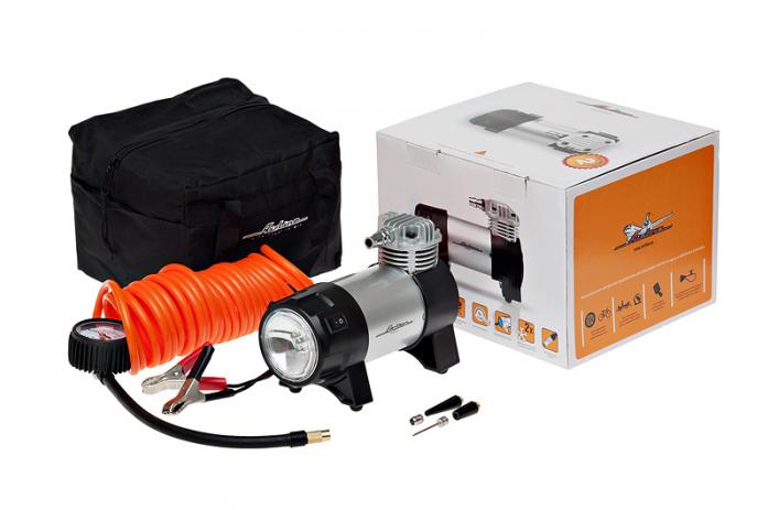 Автомобильный компрессор Airline EXPERT CA-045-07 с фонарем 10Атм 45л/мин 25А шланг 5м кабель 5м 12В сумка