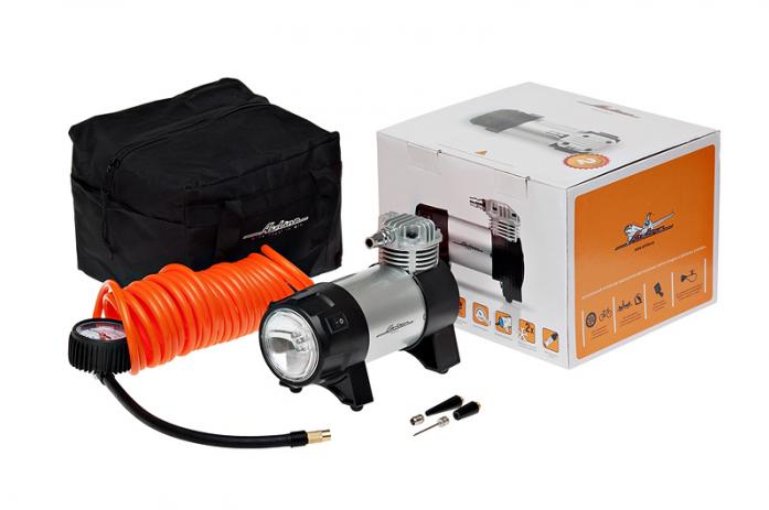 Автомобильный компрессор Airline PROFESSIONAL CA-035-03 с фонарем 10Атм 35л/мин 14А шланг 5м кабель 5м 12В сумка