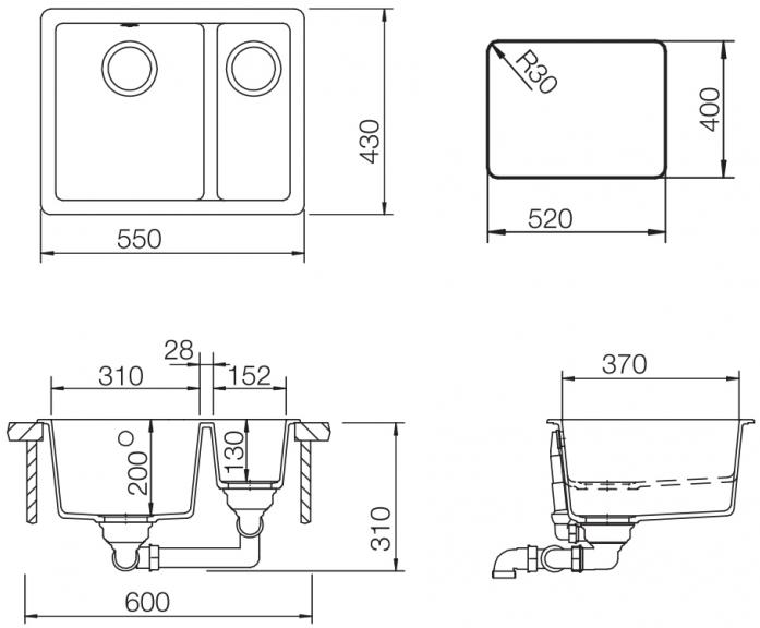 Кухонная мойка Teka RADEA 550/370 TG SAND BEIGE (40143670)