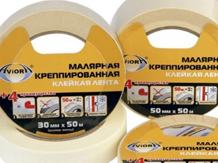 Скотч малярный Aviora 304-010 50ммx50м толщина 130мкм на бумажной основе от -40*C до +80*C