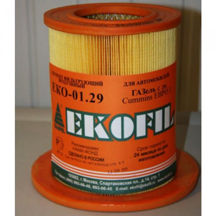 Фильтр воздушный EKO 01.29/1 с пластиковой заглушкой Газель (камминс) GB-9434M