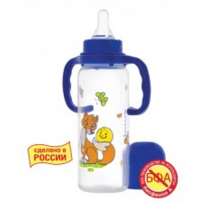 Бутылочка Курносики 250 мл с силиконовой соской с ручкой Колобок 11139