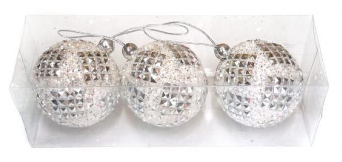 Набор шаров Новогодняя сказка 7 см белые 3шт 972176