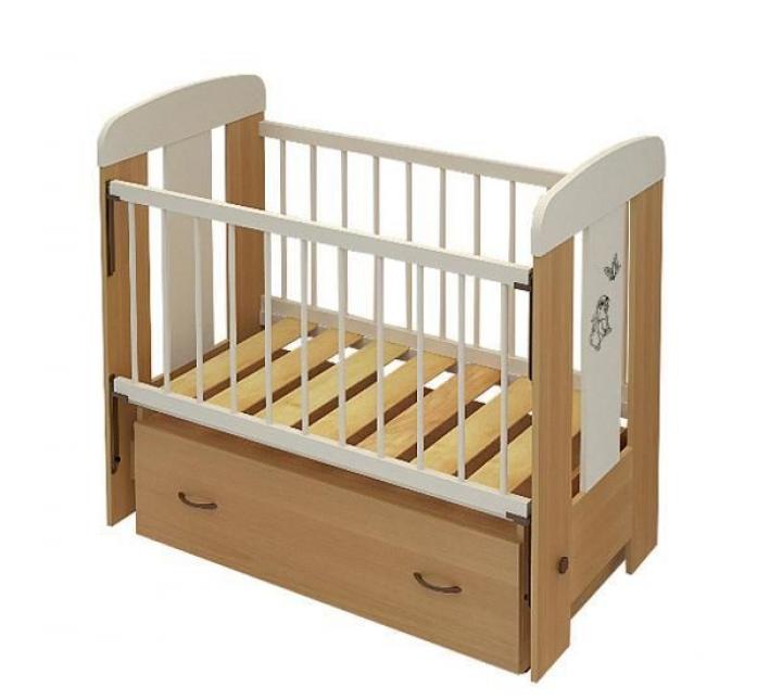 Кровать Алмаз-Мебель Зайка бук/ваниль (маятник)