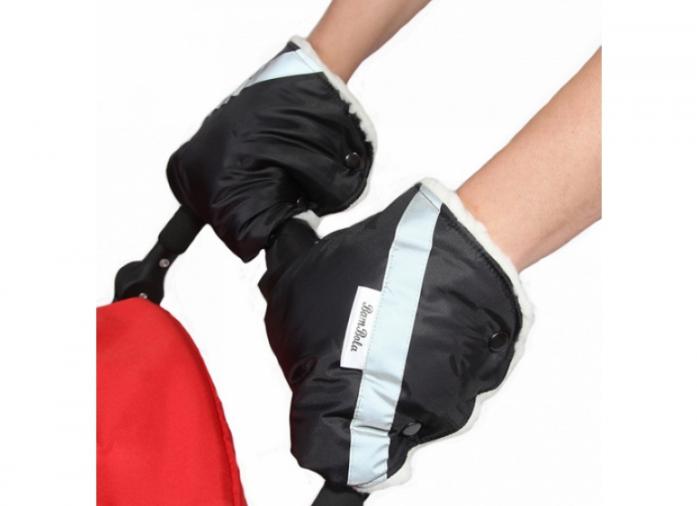 Муфты-варежки BamBola для коляски шерстяной мех+плащевка Черные 055В