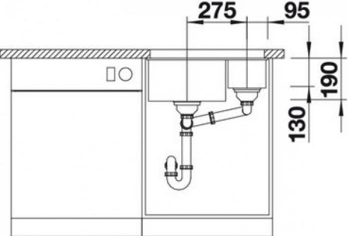 Кухонная мойка Blanco SUBLINE 340/160-U SILGRANIT Антрацит чаша справа (520402)