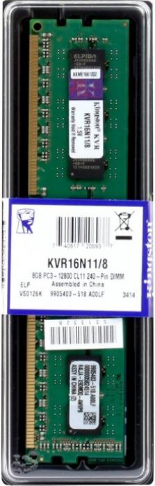 Оперативная память 8Gb DDR-III 1600MHz Kingston (KVR16N11/8)