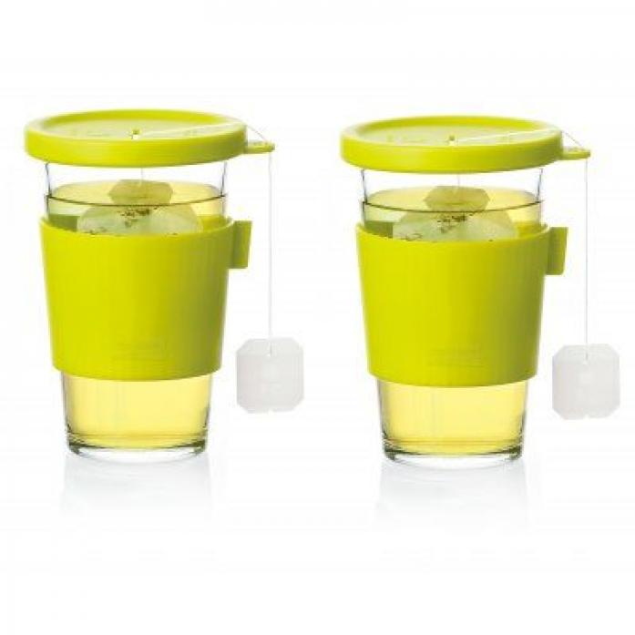 Набор стаканов для напитков с крышками GLASSLOCK GL-1363 зеленый (2х380мл)