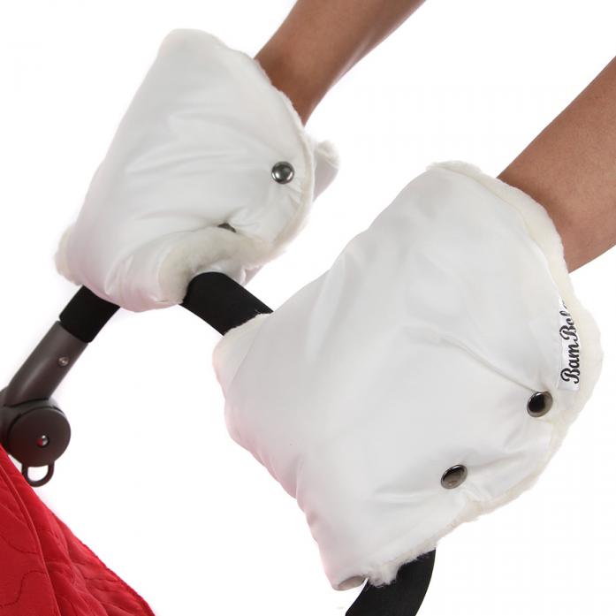 Муфты-варежки BamBola для коляски шерстяной мех+плащевка(лайт) Белые 155В