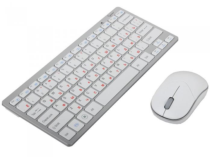 Клавиатура + Мышь Gembird KBS-7001 White/Silver USB
