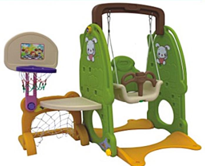 Игровой комплекс QiaoQiao ЗАЙКА столик+футбольные ворота+качели+баскет кольцо (160x120x120h)