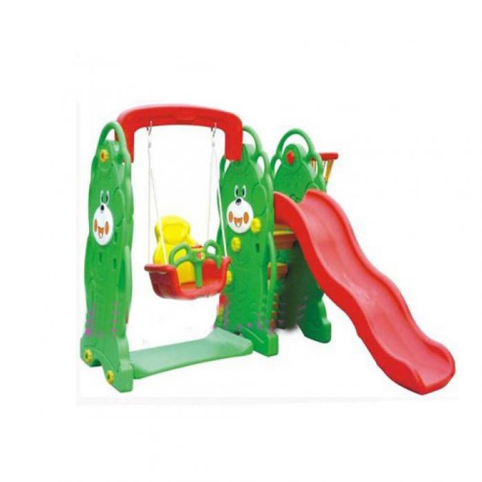 Игровой комплекс QiaoQiao Мишка (горка+качели+баскет кольцо) QQ12065-4