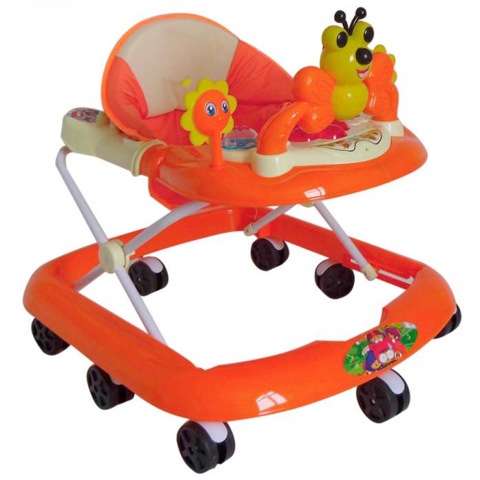Ходунки Shine Ring музыкальные с игрушкой (8 колес) оранжевые SR28
