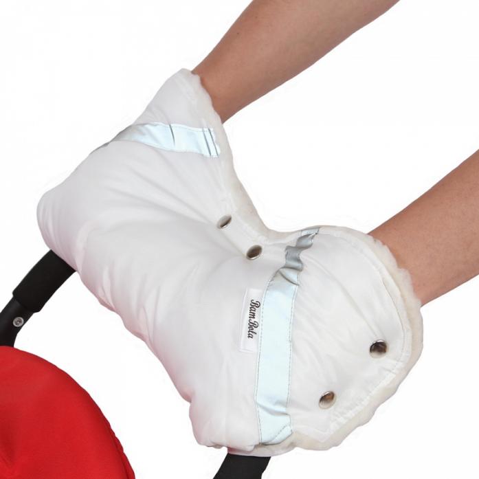 Муфта BamBola для коляски шерстяной мех+плащевка+кнопки Белая 053В