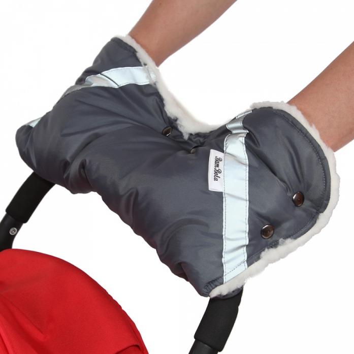 Муфта BamBola для коляски шерстяной мех+плащевка+кнопки Серая 053В
