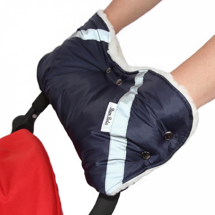 Муфта BamBola для коляски шерстяной мех+плащевка+кнопки Темно-синяя 053В