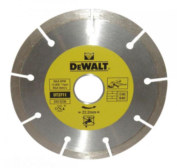 Диск алмазный сегментированный для УШМ универсальный (125х22,2 мм) DeWalt DT 3711